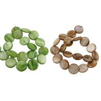 Natürliche Süßwasser Muschel Perlen, flache Runde, gemischte Farben, 20x4mm, Bohrung:ca. 1mm, Länge:ca. 14 ZollInch, 10SträngeStrang/Tasche, verkauft von Tasche