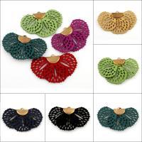 Baumwollsamt Anhänger, mit Eisen Stiftöse, Blume, goldfarben plattiert, keine, 45x26x3mm, Bohrung:ca. 3x1.5mm, 100PCs/Tasche, verkauft von Tasche