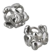 Edelstahl-Perlen mit großem Loch, Edelstahl, hohl, originale Farbe, 9x8x9mm, Bohrung:ca. 6.5mm, 10PCs/Menge, verkauft von Menge