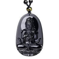 Obsidian Halskette, mit Nylonschnur, natürliche & unisex & geschnitzed & verschiedene Stile für Wahl & satiniert, 32x11x49mm, verkauft per ca. 18 ZollInch Strang