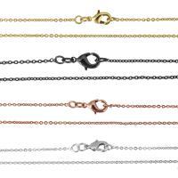 Messingkette Halskette, Messing, plattiert, Oval-Kette, keine, 1.50mm, Länge:ca. 16 ZollInch, 10SträngeStrang/Menge, verkauft von Menge
