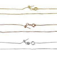 Messingkette Halskette, Messing, plattiert, Kastenkette, keine, 1mm, Länge:ca. 16 ZollInch, 10SträngeStrang/Menge, verkauft von Menge