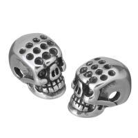 Edelstahl-Beads, Edelstahl, Schädel, Schwärzen, 7x13x10mm, Bohrung:ca. 2mm, 10PCs/Menge, verkauft von Menge