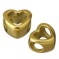 Edelstahl-Perlen mit großem Loch, Edelstahl, Herz, goldfarben plattiert, 11.50x8x10.50mm, 10PCs/Menge, verkauft von Menge