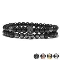 Diamant Armband, mit Abrazine Stein, Schädel, plattiert, unisex, keine, 6mm, Länge:ca. 7.3 ZollInch, 2SträngeStrang/setzen, verkauft von setzen