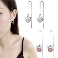 Messing Tropfen Ohrringe, mit Opal & Strawberry Quartz, platiniert, Kastenkette & für Frau, 95mm, verkauft von Paar