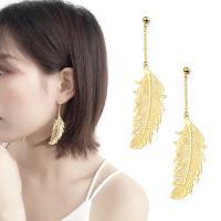 Messing Tropfen Ohrringe, vergoldet, für Frau, 15x75mm, verkauft von Paar