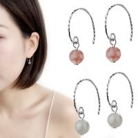 Messing Ohrring, mit Opal & Strawberry Quartz, platiniert, für Frau, keine, 7mm, verkauft von Paar