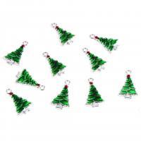 Zinklegierung Weihnachten Anhänger, Weihnachtsbaum, silberfarben plattiert, Weihnachtsschmuck & Emaille, 25mm, Bohrung:ca. 0.5mm, 10PCs/Menge, verkauft von Menge