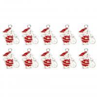 Zinklegierung Weihnachten Anhänger, Weihnachtsmann, silberfarben plattiert, Weihnachtsschmuck & Emaille, 23mm, Bohrung:ca. 0.5mm, 10PCs/Menge, verkauft von Menge