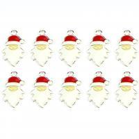 Zinklegierung Weihnachten Anhänger, Weihnachtsmann, silberfarben plattiert, Weihnachtsschmuck & Emaille, 24mm, Bohrung:ca. 0.5mm, 10PCs/Menge, verkauft von Menge