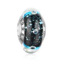 Lampwork Perlen European Stil, Rondell, handgemacht, mit 925 logo & Sterling Silber-Dual-Core ohne troll, 8.7x15.5mm, Bohrung:ca. 4.5mm, verkauft von PC