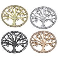 Befestigter Zirkonia Messing Anhänger, Baum, plattiert, Micro pave Zirkonia & Doppelloch, keine, 24x20x5mm, Bohrung:ca. 3x1mm, 10PCs/Menge, verkauft von Menge