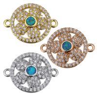Messing Schmuckverbinder, mit Opal, Blume, plattiert, Micro pave Zirkonia & 1/1-Schleife, keine, 18x14x3mm, Bohrung:ca. 1mm, 10PCs/Menge, verkauft von Menge
