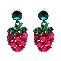 Zinklegierung Tropfen Ohrring, mit Kristall, Erdbeere, plattiert, für Frau, 22x40mm, verkauft von Paar