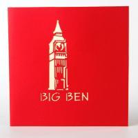 Grußkarte, Papier, Big Ben, handgemacht, mit Umschlag & 3D-Effekt, keine, 150x150mm, verkauft von PC