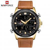 NAVIFORCE® Uhrenkollektion, Glas, mit PO Leder & Zinklegierung, plattiert, für den Menschen & glänzend, keine, 45x17mm, Länge:ca. 10.2 ZollInch, verkauft von PC