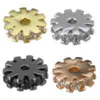 Messing Zwischenperlen, Blume, plattiert, Micro pave Zirkonia, keine, 6x2x6mm, Bohrung:ca. 1mm, 20PCs/Menge, verkauft von Menge
