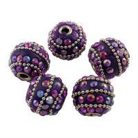 Indonesien Perle, mit Zinklegierung, Platinfarbe platiniert, mit Strass, 16x19mm, Bohrung:ca. 3mm, verkauft von PC