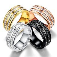 Rhinestone-Edelstahl -Finger-Ring, Edelstahl, plattiert, unisex & verschiedene Größen vorhanden & mit Strass, keine, verkauft von PC