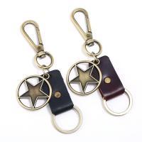 Schlüsselanhänger, Zinklegierung, mit Leder, antike Bronzefarbe plattiert, keine, 40mm, verkauft von PC