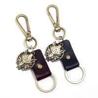 Schlüsselanhänger, Zinklegierung, mit Leder, antike Bronzefarbe plattiert, keine, 30mm, verkauft von PC