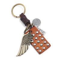 Schlüsselanhänger, Zinklegierung, mit Leder, plattiert, 31x50mm, verkauft von PC
