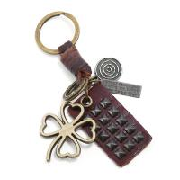 Schlüsselanhänger, Zinklegierung, mit Leder, antike Bronzefarbe plattiert, 38x48mm, verkauft von PC