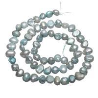 Barock kultivierten Süßwassersee Perlen, Natürliche kultivierte Süßwasserperlen, Klumpen, hell blaugrün, 6-7mm, Bohrung:ca. 0.8mm, verkauft per ca. 15 ZollInch Strang