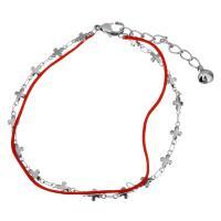 Edelstahl Schmuck Armband, mit Nylonschnur, mit Verlängerungskettchen von 2Inch, Kreuz, mit Glocke & für Frau & 2 strängig, originale Farbe, 9x4.5mm, 4x2mm, 1mm, verkauft per ca. 8 ZollInch Strang