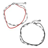 Edelstahl Schmuck Armband, mit Nylonschnur, mit Verlängerungskettchen von 1.5Inch, mit Glocke & Bar-Kette & für Frau & 2 strängig, keine, 10x4mm, 4x2.5mm, 1mm, verkauft per ca. 8 ZollInch Strang