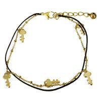 Edelstahl Schmuck Armband, mit Nylonschnur, mit Verlängerungskettchen von 1.5Inch, Schlüssel, goldfarben plattiert, Armband  Bettelarmband & mit Glocke & Oval-Kette & für Frau & 2 strängig, 6.5x13mm, 1x2mm, 2x1.5mm, 1mm, verkauft per ca. 9 ZollInch Strang