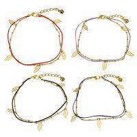 Edelstahl Schmuck Armband, mit Nylonschnur, mit Verlängerungskettchen von 1.5Inch, Blatt, goldfarben plattiert, Armband  Bettelarmband & mit Glocke & Oval-Kette & für Frau & 2 strängig, keine, 6x12.5mm, 1x2.5mm, 2x1.5mm, 1mm, verkauft per ca. 8.5 ZollInch Strang