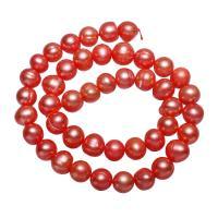 Runde Süßwasser Zuchtperlen, Natürliche kultivierte Süßwasserperlen, rot, 9-10mm, verkauft per ca. 14.3 ZollInch Strang