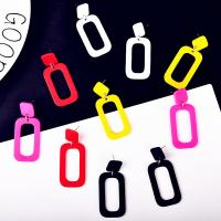 Acryl Schmuck Ohrring, Zinklegierung Stecker, Quadrat, für Frau, keine, 23x52mm, verkauft von Paar