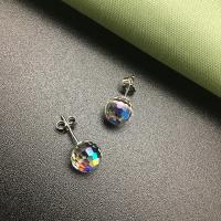 Messing Ohrstecker, mit Österreichischer Kristall, rund, platiniert, für Frau & facettierte, frei von Nickel, Blei & Kadmium, 8mm, verkauft von Paar