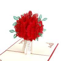 Papier 3D Grußkarte, Rose, handgemacht, mit Umschlag & 3D-Effekt & hohl, 150x150mm, verkauft von PC