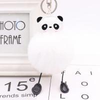 Plüsch Schlüsselanhänger, mit PU Leder & Eisen, Panda, silberfarben plattiert, keine, 80mm, verkauft von PC