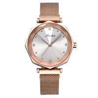 MEIBIN® Damen Schmuck Uhren, Zinklegierung, mit Glas, Rósegold-Farbe plattiert, für Frau & mit Strass, keine, 34x10.5mm, Länge:ca. 7.8 ZollInch, verkauft von PC