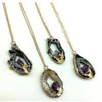 Messing Halskette, mit Brazilien Achat, Klumpen, goldfarben plattiert, unisex & Oval-Kette, frei von Nickel, Blei & Kadmium, 35-40mm, verkauft per ca. 17.7 ZollInch Strang