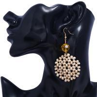 Messing Tropfen Ohrring, mit Holz & Acryl, goldfarben plattiert, für Frau & facettierte, keine, frei von Nickel, Blei & Kadmium, 40x80mm, verkauft von Paar