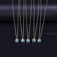 Zinklegierung Halskette, mit Österreichischer Kristall, goldfarben plattiert, Oval-Kette & für Frau, 8x14.4mm, verkauft per ca. 16.5 ZollInch Strang