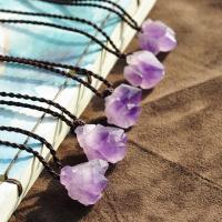 Level B Amethyst Halskette, mit PU Schnur, Klumpen, für Frau, violett, 20mm, verkauft per ca. 15.7 ZollInch Strang