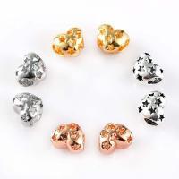 Zinklegierung Herz Perlen, plattiert, hohl, keine, frei von Blei & Kadmium, 10x11mm, Bohrung:ca. 4mm, 10PCs/Tasche, verkauft von Tasche
