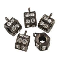 Zinklegierung Stiftöse Perlen, Sechseck, metallschwarz plattiert, mit Strass, frei von Blei & Kadmium, 9x15x11mm, Bohrung:ca. 1-5mm, 10PCs/Tasche, verkauft von Tasche