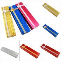 Schmuck Geschenkkarton, Papier, mit Funkeln Band, Rechteck, verschiedene Muster für Wahl & mit Dekoration von Bandschleife, 50x210x30mm, verkauft von PC