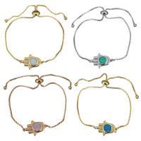 Messing Armband, mit Opal, Hamsa, plattiert, einstellbar & Kastenkette & für Frau, keine, 19x12.5mm, 1mm, Länge:ca. 5-8 ZollInch, 5SträngeStrang/Menge, verkauft von Menge