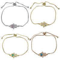 Messing Armband, mit Opal, Hamsa, plattiert, einstellbar & Kastenkette & Micro pave Zirkonia & für Frau, keine, 18.5x11mm, 1mm, Länge:ca. 5-8 ZollInch, 5SträngeStrang/Menge, verkauft von Menge