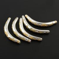 Zinklegierung gebogene Rohr Perlen, gebogenes Rohr, silberfarben plattiert, Emaille, frei von Blei & Kadmium, 40x8x5mm, Bohrung:ca. 0.5mm, 10PCs/Tasche, verkauft von Tasche