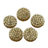 Zinklegierung Perle, mit Lehm pflastern, flache Runde, mit Strass, frei von Blei & Kadmium, 12x12x7mm, Bohrung:ca. 0.5mm, 10PCs/Tasche, verkauft von Tasche